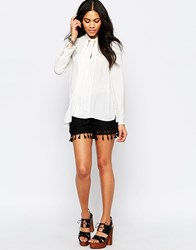 Brave Soul Crochet Shorts With Tassel Trim Black