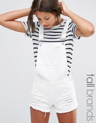 Missguided Tall Distressed Denim Dungaree Short White