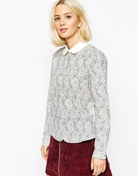 The Laden Showroom X Even Vintage Lace Print Blouse Greylaceprint