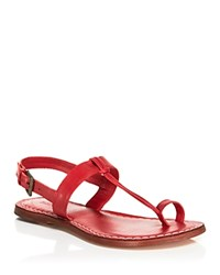 Bernardo Flat T Strap Sandals Maverick Toe Ring Brick