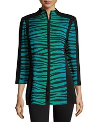 Misook Alyse Zebra Print Zip Jacket Black Jade French Blue