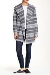 Loma Striped Wool Blend Hooded Cardigan Gray