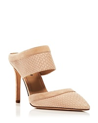 Via Spiga Pointed Toe Mule Slide Pumps Dahlia Snake Embossed High Heel