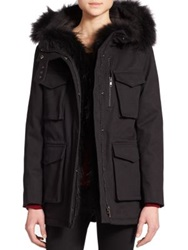 The Kooples Classic Fur Trim Parka Black
