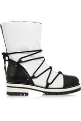 Jimmy Choo Shearling Lined Leather And Pique Shell Boots