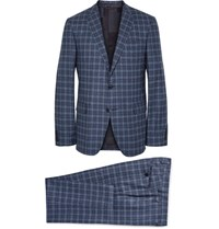 Etro Blue Slim Fit Checked Wool Suit Blue
