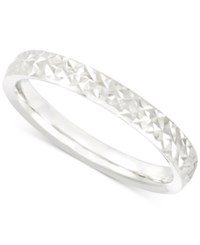 Macy's Thin Textured Band In 14K White Gold