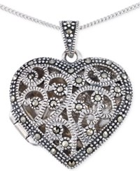 Giani Bernini Marcasite Heart Locket Pendant Necklace In Sterling Silver