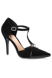 Alice And You T Bar Strap Contrast Heels Black