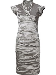 Nicole Miller Wrinkled Satin Dress Grey
