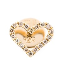 Rosa De La Cruz Yellow Gold And Diamond Heart Single Stud Earring Yellow White