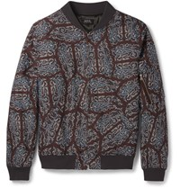 A.P.C. Sim Fit Paisey Print Cotton Bomber Jacket Burgundy