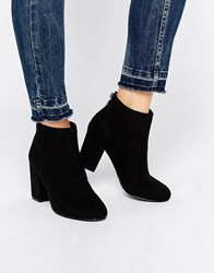 Head Over Heels By Dune Olive Back Zip Heeled Ankle Boots Black