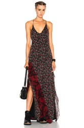 R 13 R13 Slit Slip Dress In Black Red Floral Black Red Floral