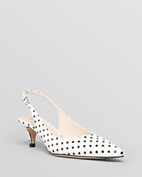 L.K.Bennett Pointed Toe Slingback Pumps Mira Kitten Heel White Black