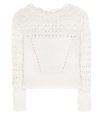 Oscar De La Renta Crochet Knit Cotton Blend Sweater White