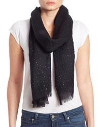 Lord And Taylor Wool Embellished Scarf Black