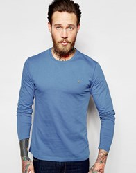 Farah Long Sleeve T Shirt With F Logo In Slim Fit In Blue Dusky Blue