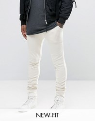 Asos Super Skinny Joggers In Off White Whitecap Grey Beige