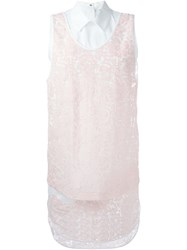 Msgm Classic Collar Lace Dress Pink And Purple