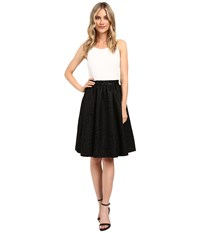 Calvin Klein Halter Neck Fit And Flare Dress Cd6b2524 Winter White Black Women's Dress