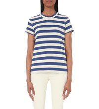 Mih Jeans Range Cotton Jersey T Shirt Off White Cobalt