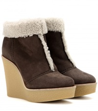Chloe Suede And Shearling Wedge Ankle Boots Brown