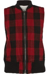 Madewell Plaid Wool Blend Vest Red