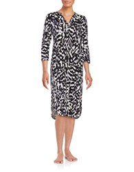 Lord And Taylor Printed Knit Nightgown Black White