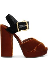 Prada Two Tone Velvet Sandals Tan