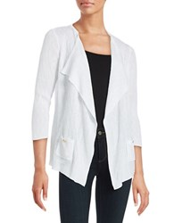 Nipon Boutique Textured Open Front Cardigan New White