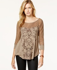 Miss Me Three Quarter Sleeve Mixed Media Graphic Top Brown