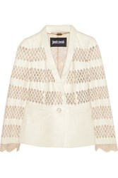 Just Cavalli Cutout Leather And Lace Jacket Cream