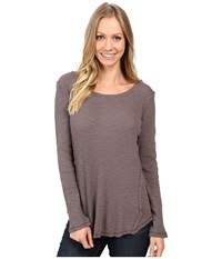 Dylan By True Grit Softest Slub Waffle Long Sleeve Seamed Thermal Crew Vintage Grey Women's Long Sleeve Pullover Gray