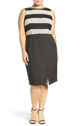 London Times Plus Size Women's Stripe Lace And Scuba Knit Sheath Dress Black Tan