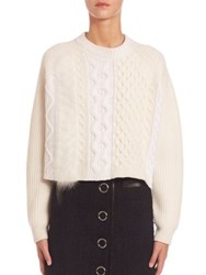 Alexander Wang Cropped Cable Knit Sweater Ivory