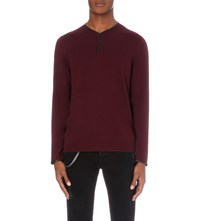 The Kooples Leather Trim Wool Jumper Bur