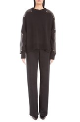 Givenchy Women's Side Zip Wool Sweater With Stamped Nappa Leather Trim