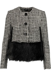 Raoul Faux Fur Paneled Houndstooth Wool Blend Jacket