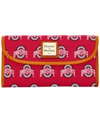 Dooney And Bourke Ohio State Buckeyes Ncaa Large Continental Clutch Red Brown