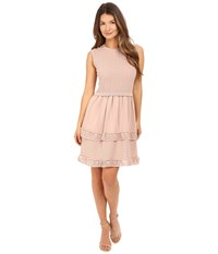Red Valentino Cotton Yarn Lingerie Stiching And Point D'esprit Dress Nude