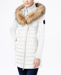 Calvin Klein Performance Faux Fur Trim Mixed Media Jacket Cloud