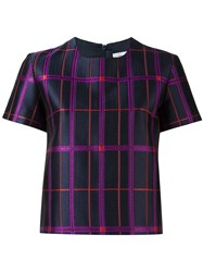 Carven Checked T Shirt Blue