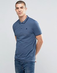 Asos Muscle Pique Polo Shirt With Tipped Collar And Logo In Blue Dark Denim Marl