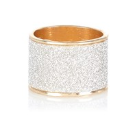 River Island Womens Gold Tone Oversized Glitter Ring