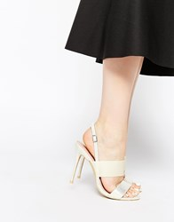 Paper Dolls Strappy Sling Heeled Sandals White