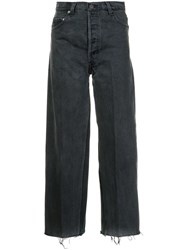 Re Done Cropped Wide Leg Jeans Black