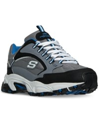 Skechers Men's Stamina Cutback Walking Sneakers From Finish Line Charcoal Blue
