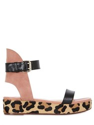 Francesco Russo 40Mm Leather And Suede Wedge Sandals