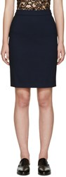 Lanvin Navy Woven Pencil Skirt